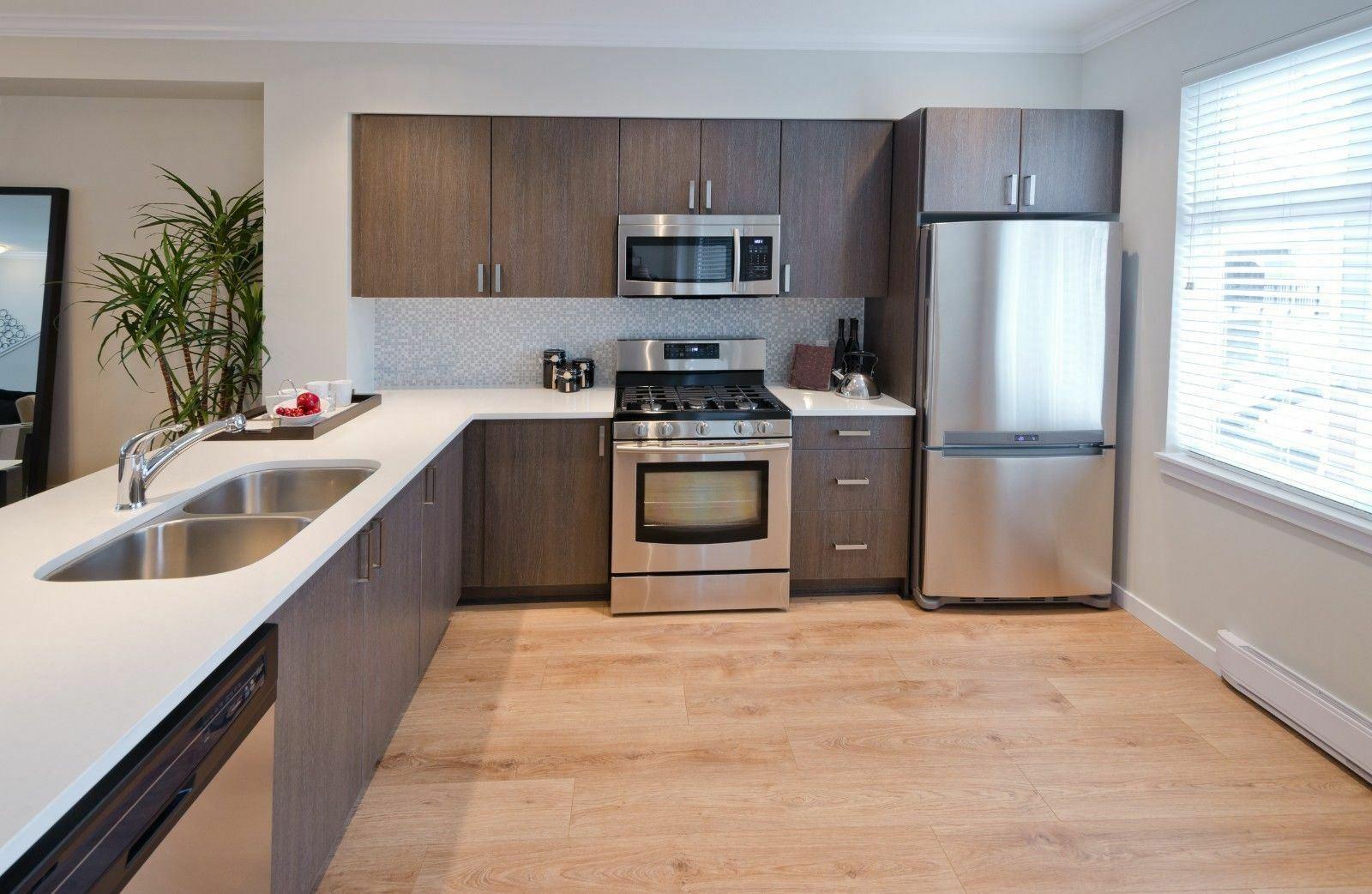 8 Units Walnut Pvc Kitchen Wall Base Units Carcass Cabinet Set Soft Close Doors Cosmobuy